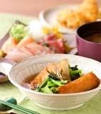 ごぼ天と青菜の煮物の献立