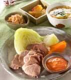 ゆで豚と温野菜の献立