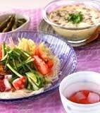 七夕素麺・熱々ゴマ油の献立