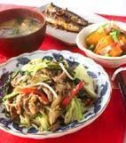 野菜と牛肉の炒め物の献立