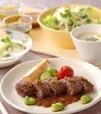 牛ひき肉ステーキの献立