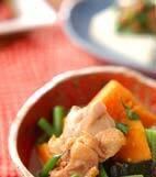鶏肉とカボチャの煮物の献立
