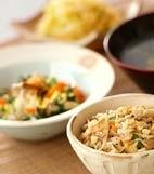 根菜炊き込みご飯の献立