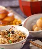 玄米キノコ炊き込みご飯の献立