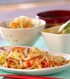 イカと野菜のソース炒めの献立