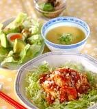 エビ豆腐チリソースの献立