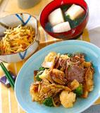牛肉とキノコの炒め物の献立