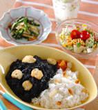 豆腐の黒カレーの献立