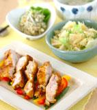 鶏肉のカレー風味焼きの献立