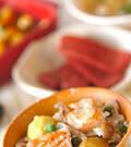 「秋鮭の五目炊き込みご飯」の献立