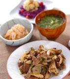 ラム肉とキノコの炒め物の献立