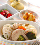 チキンと根菜のスープ煮の献立