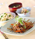 豚肉と根菜の揚げ炒めの献立