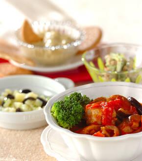 マグロと野菜のトマト煮の献立