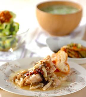鶏肉のハーブオイル炒め煮の献立