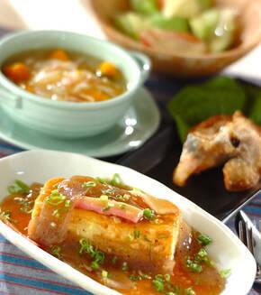 コンニャクあんの豆腐ステーキの献立