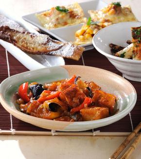 揚げナスと高野豆腐のチリソースの献立