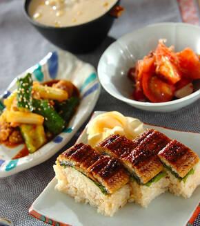 ウナギの棒寿司の献立