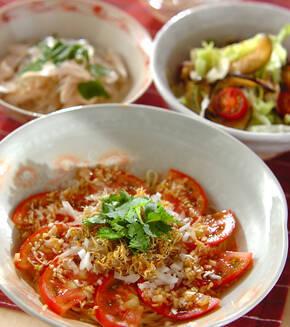 トマトとジャコの冷やし中華の献立