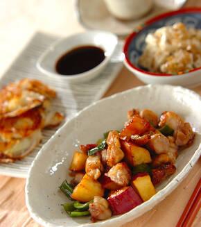 サツマイモと鶏肉のピリ辛甘酢炒めの献立