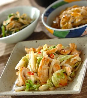 白菜と鶏肉のシャッキリ炒めの献立
