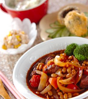 豚肉と豆のシチューの献立