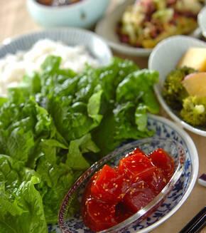 韓国マグロ寿司のサンチュ巻きの献立