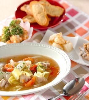 鶏肉とトマトのスープ煮の献立
