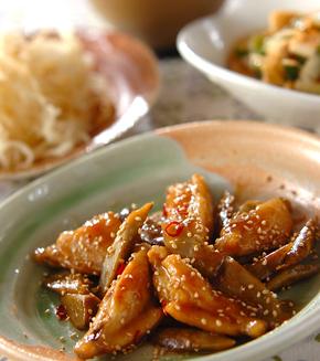 鶏手羽とゴボウの甘酢炒めの献立