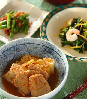 マグロと豆腐のショウガ煮の献立