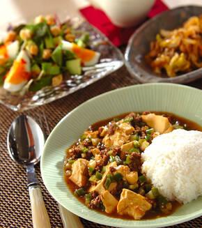 ひき肉と豆腐のヘルシーカレーの献立
