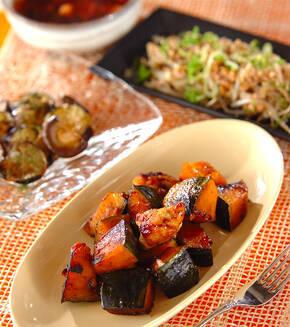 カボチャと鶏肉のピリ辛炒めの献立