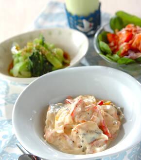 鮭のクリームチーズ煮の献立