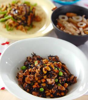 大豆とヒジキの梅煮の献立