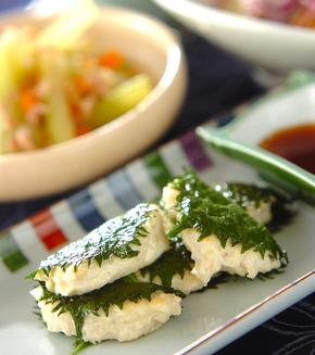 豆腐つくねの大葉包み焼きの献立