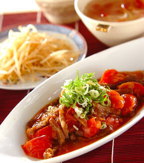 カルビ肉のトマト甘酢炒めの献立