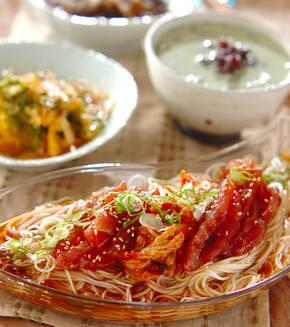 漬けマグロとキムチ素麺の献立