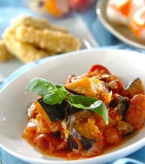 トロトロ卵入り夏野菜のトマト煮の献立