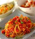 「タコミンチのトマトパスタ」の献立