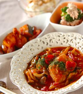 鶏肉とシメジのケチャップ煮の献立