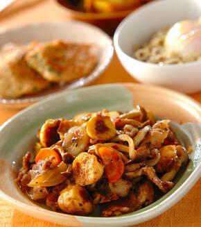 豚バラ肉と麩の中華炒めの献立