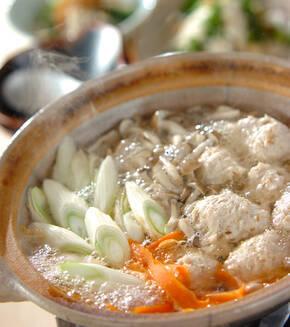 ユズコショウ風味の鶏つくね鍋の献立