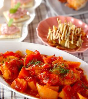 簡単!手羽元といろいろ野菜のトマト煮の献立