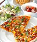 「コーンとソーセージのピザ」の献立