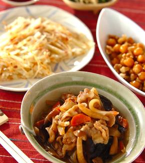 豚肉とシイタケのうま煮の献立