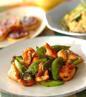 鶏肉と緑野菜の中華炒めの献立