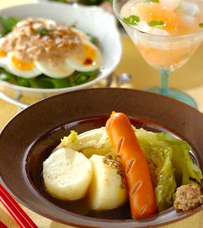 春野菜とソーセージのシンプル煮込みの献立