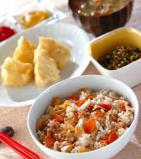 タケノコとツナの混ぜご飯の献立