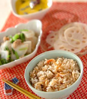 塩昆布と桜エビの炊き込みご飯の献立