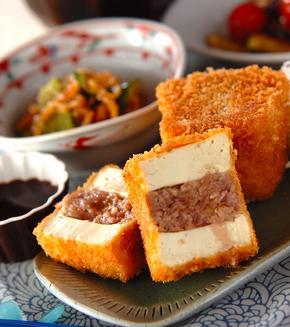豆腐のソースカツの献立